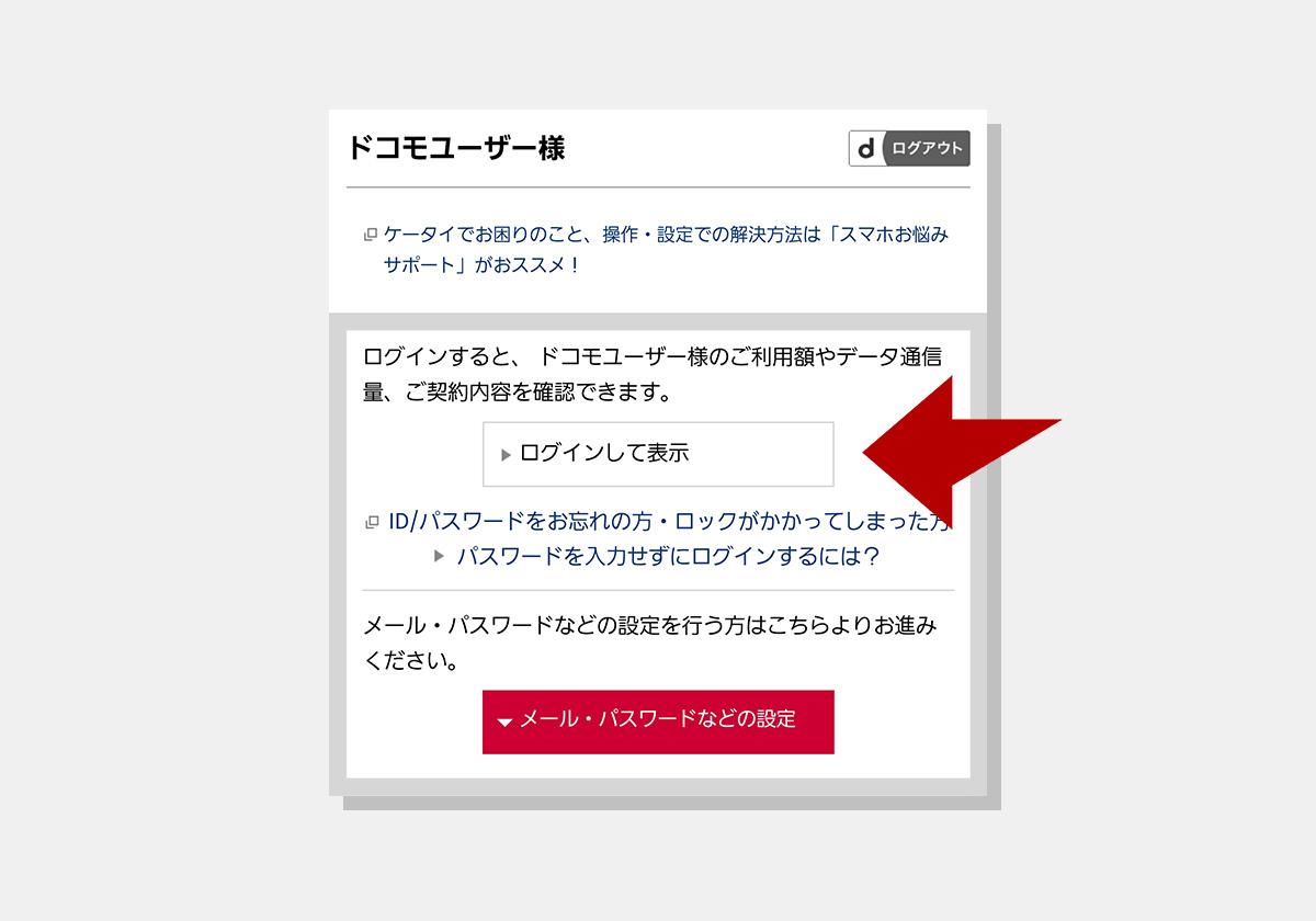 My docomo(お客様サポート)のログイン画面