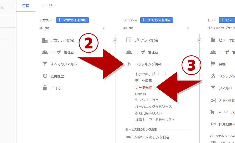 トラッキング情報、データ保持をクリック