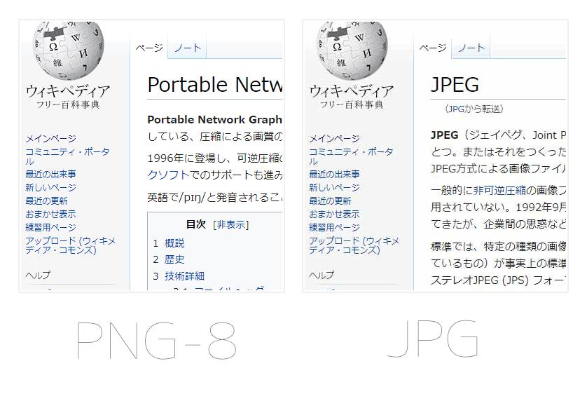 PC画面のスクリーンショットによるPNGとJPGの比較