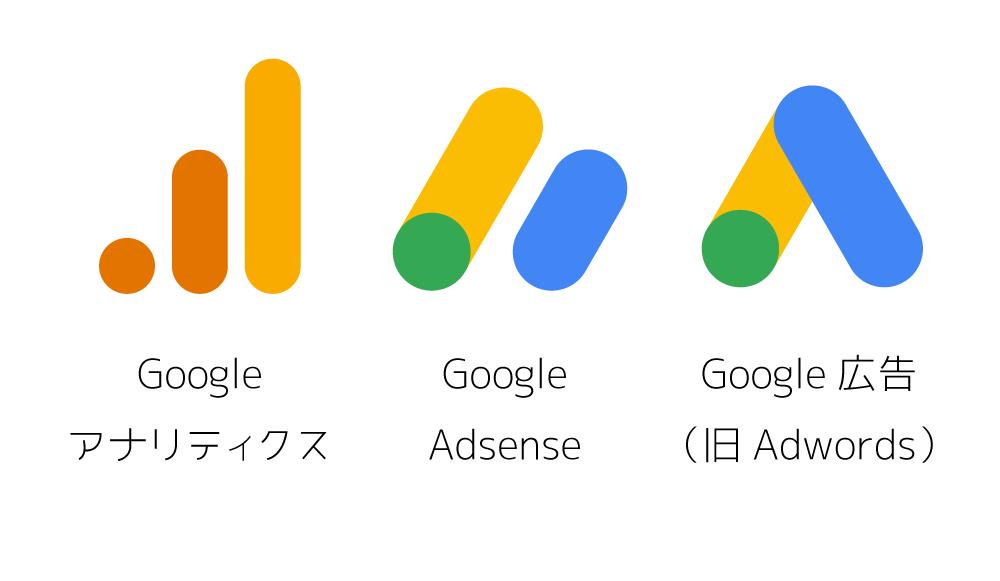 Google広告(旧アドワーズ)、アドセンス、アナリティクスの新ロゴ
