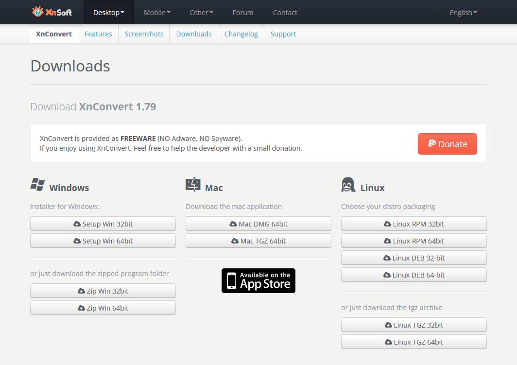 画像一括編集ソフトXnConverのダウンロード画面