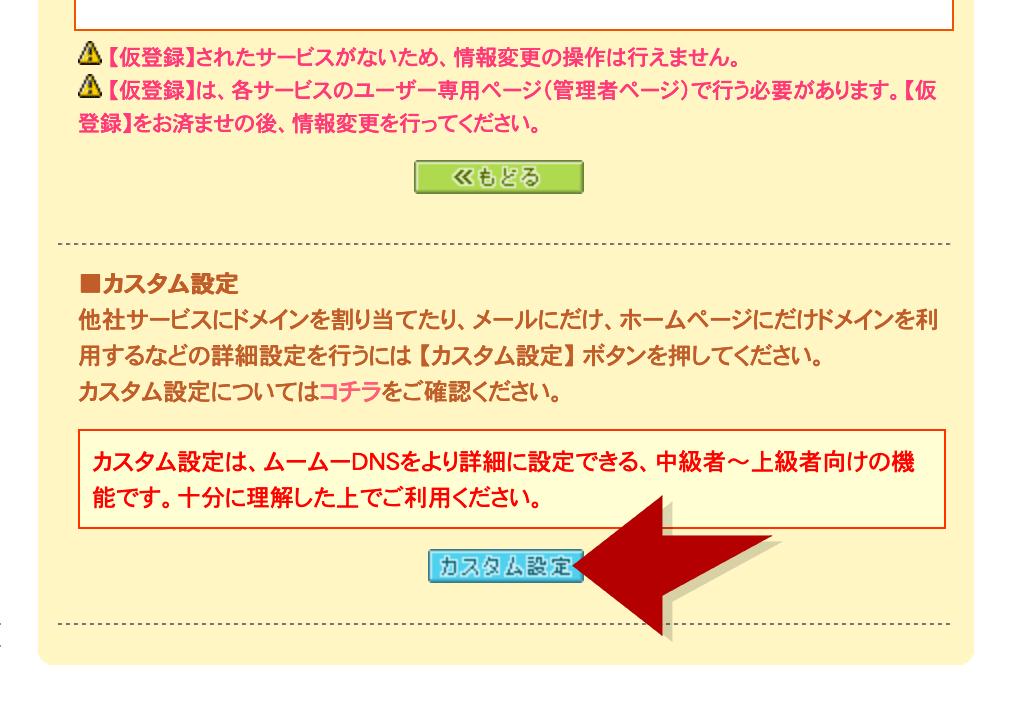 ムームーDNS設定でカスタム設定をクリック
