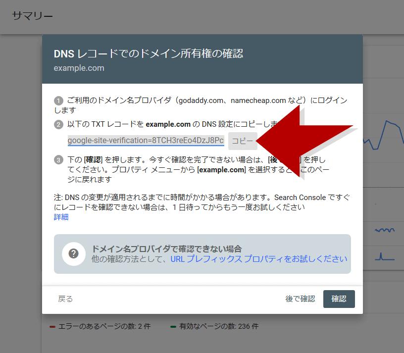 SearchConsoleからDNSレコードをコピー